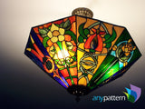 Craftsman 8-Sided Lamp Stained Glass Pattern
