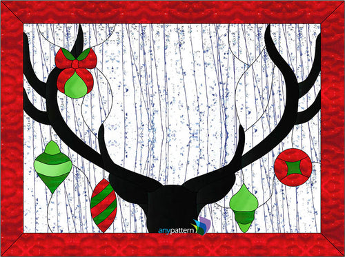 Deer Christmas Stained Glass Pattern by AnyPattern