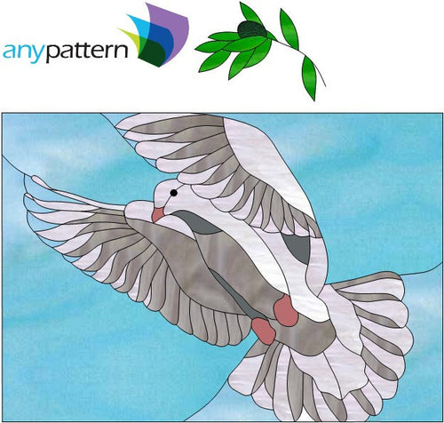 Dove Flying Stained Glass Pattern
