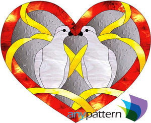 Dove Heart Stained Glass Pattern