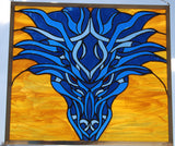 Dragon Stained Glass Example in Blue