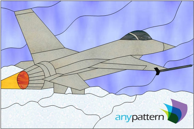 F-16 Jet stained glass pattern