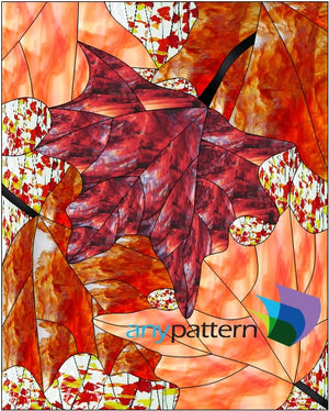 Fall Leaves Stained Glass Pattern