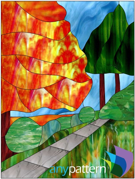 Fall Walk Stained Glass Pattern
