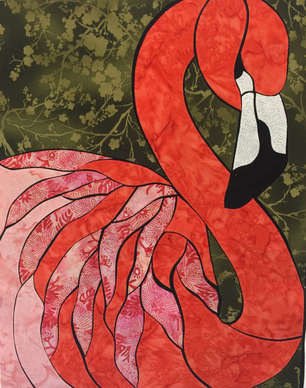 Finished Flamingo Quilt by Nancy