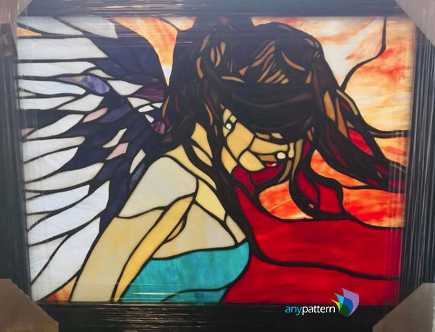 Angel Stained Glass Finished and Framed Panel by Glenda Ferguson