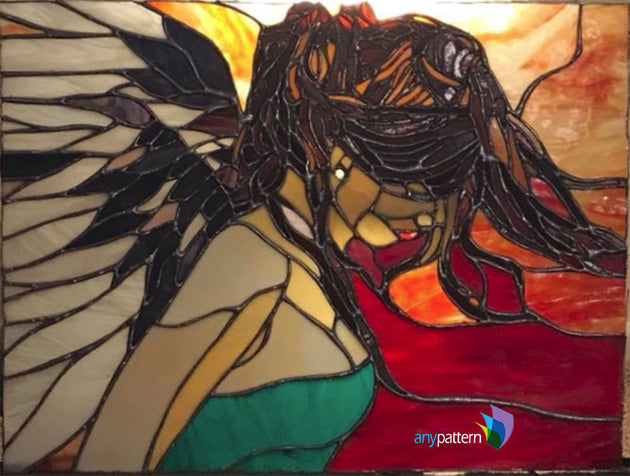 Angel Stained Glass Finished Panel by Glenda Ferguson