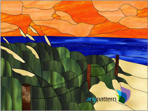 Grassy Beach Stained Glass Pattern