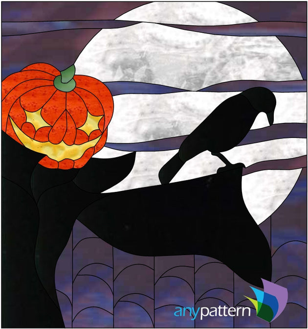 Halloween Scarecrow stained glass pattern