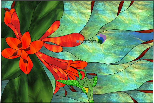Humming Bird with Flowers Stained Glass Pattern