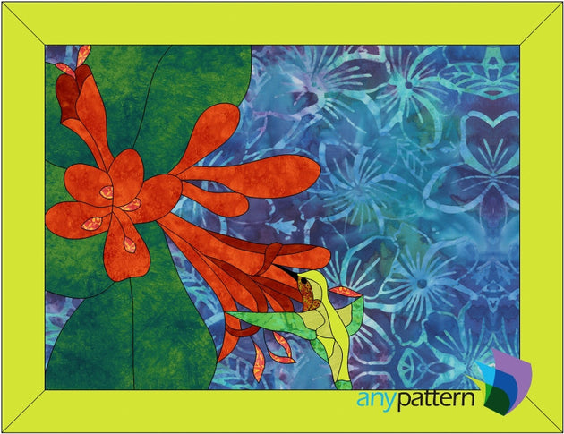 Humming Bird with Flowers Applique Quilt Pattern