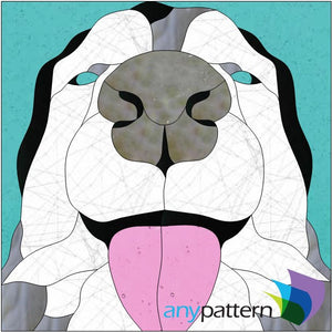 Husky Tongue Stained Glass Pattern