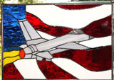 Fighter Jet FS Stained Glass Window by Jim Ingram