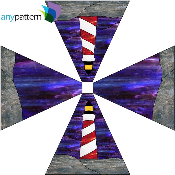 Lighthouse Panel Lamp Stained Glass Pattern