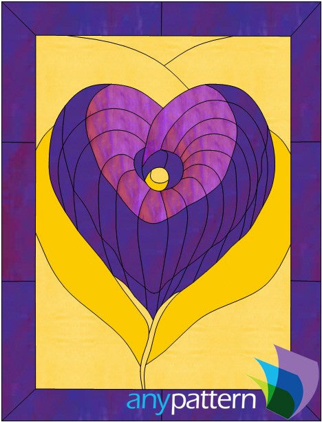 Lily Heart Stained Glass Pattern