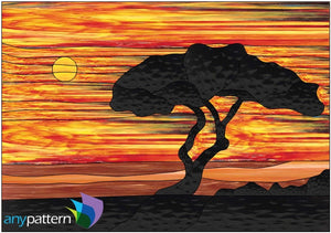 Lone Tree at Sunset Stained Glass Pattern