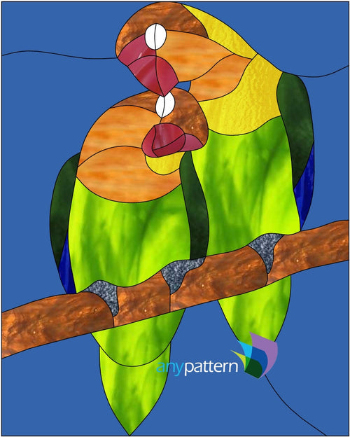 Lovebirds Stained Glass Pattern