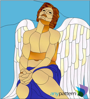 Male Angel Praying Stained Glass Pattern