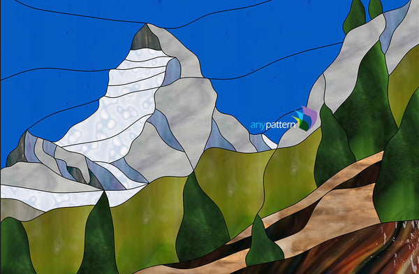 Matterhorn Mountain Stained Glass Pattern Anypattern Com