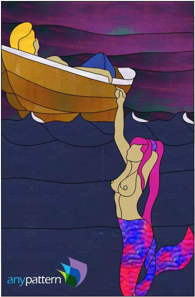 Mermaid and her Sailor Stained Glass Pattern