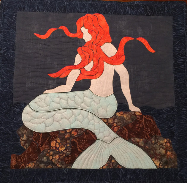 Mermaid on the Rocks Applique Quilt Example