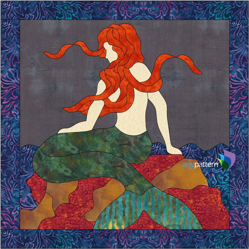 Mermaid on the Rocks Applique Quilt Pattern