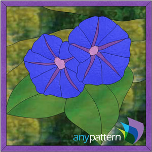Morning glories stained glass pattern