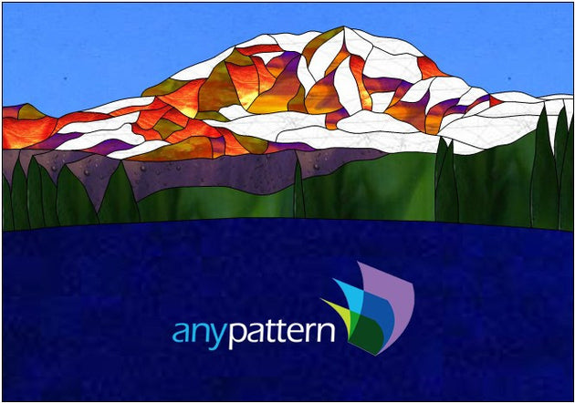 Mount Rainier and Lake Stained Glass Pattern