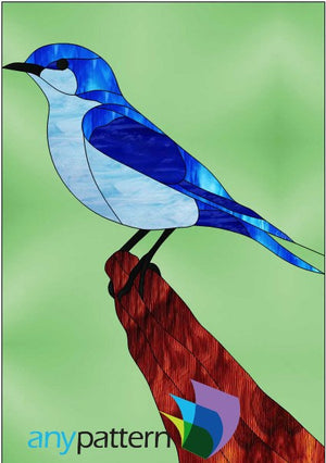 Mountain Bluebird Stained Glass Pattern