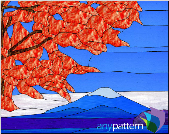 Mountain Tree Stained Glass Pattern