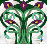 Art Nouveau Lilies Stained Glass Pattern
