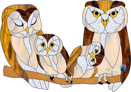 Owl Family Stained Glass Pattern