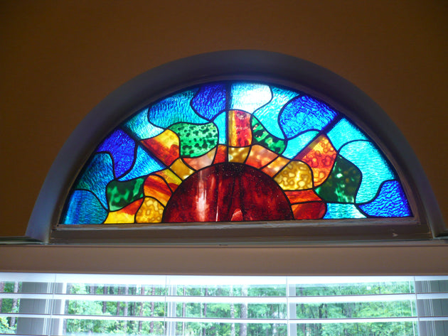 anypattern abstract sun transom stained glass window