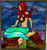 Pam Coppola Mermaid on the Rocks Stained Glass Window