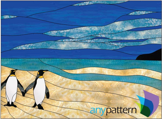 Penguin Friends Stained Glass Pattern