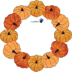 Pumpkin Wreath Stained Glass Pattern