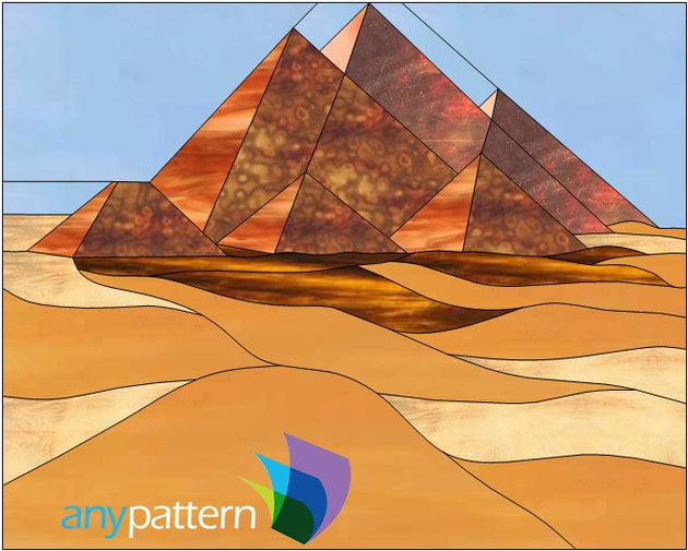 Pyramids of Giza Stained Glass Pattern