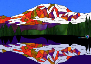 Mount Rainier Reflection Stained Glass Pattern
