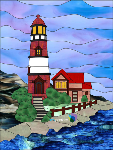 Red Lighthouse Stained Glass Pattern Anypattern Com