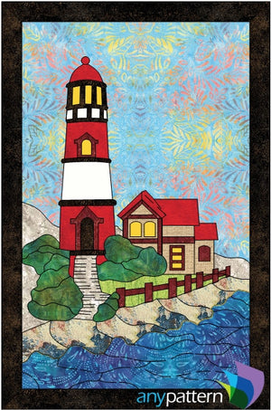 Red Lighthouse Applique Quilt Pattern