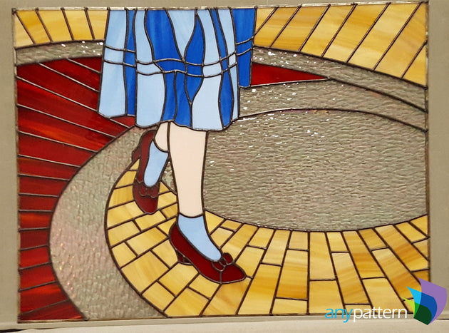 Ruby slippers finished stained glass by Paula Plascjak