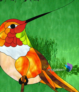 Rufous Hummingbird Stained Glass Pattern