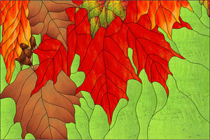 Fall Maple Leaves Stained Glass Pattern