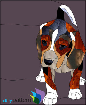 Satch Puppy Stained Glass Pattern