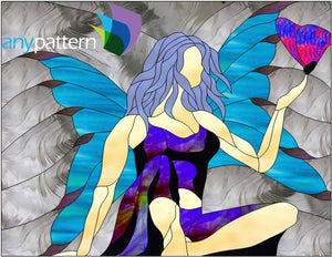 Sitting Fairy with Butterfly Stained Glass Pattern
