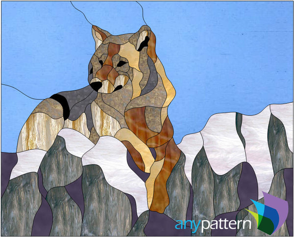 Sitting Wolf Stained Glass Pattern Anypattern Com