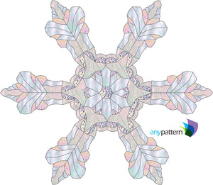 "Snowflake Real 15"" Stained Glass Pattern"