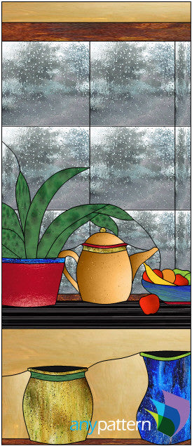 Still Life Door Left Stained Glass Pattern