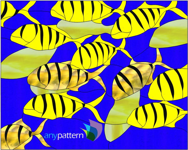 Tiger Fish School Stained Glass Pattern