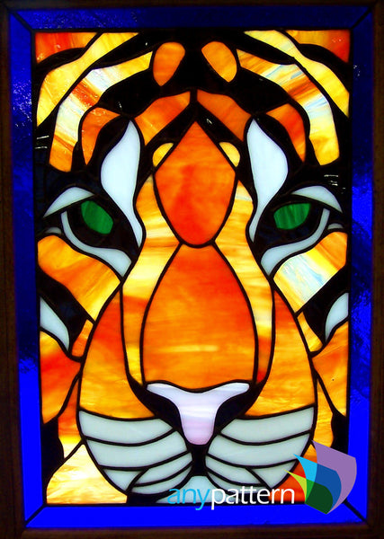Tiger Face Stained Glass Pattern Anypattern Com
